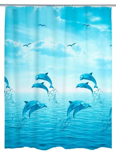 Perdea dus din PEVA, Dolphin Albastru, 180 x 200 cm