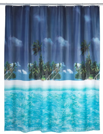 Perdea dus din PEVA, Palm Beach Multicolor, 180 x 200 cm