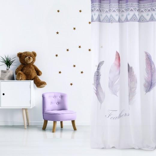 Perdea Pioro Alb / Violet, 140 x 250 cm, 1 bucata