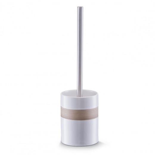 Perie de toaleta cu suport din ceramica, Beige / Brown, Ø 9,5xH33 cm