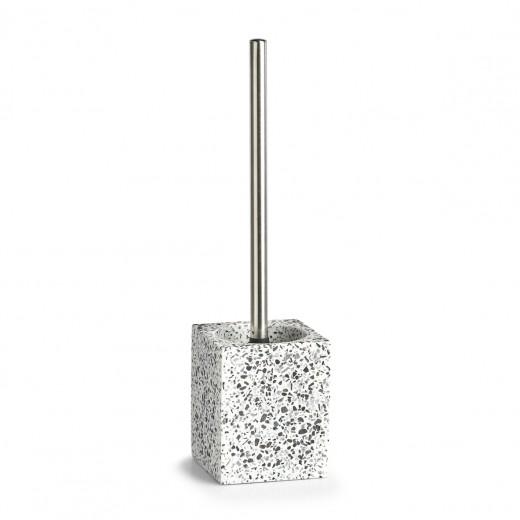 Perie de toaleta cu suport din polirasina, Terrazzo Alb / Negru, L10xl10xH38 cm