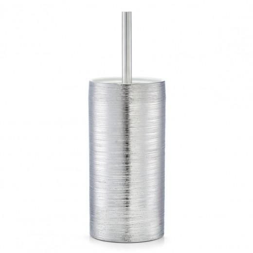 Perie de toaleta cu suport din ceramica, Brushed Silver, Ø 11xH33 cm