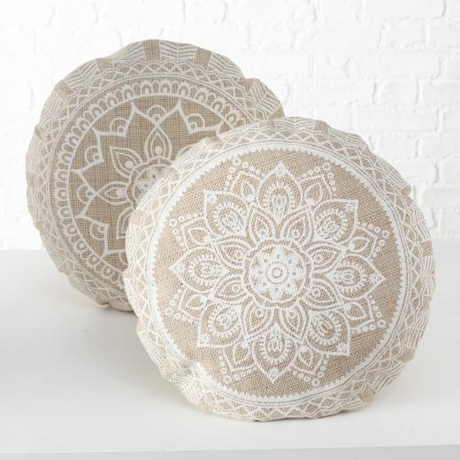 Perna de sezut decorativa din bumbac Mandala Bej / Alb, Modele Asortate, Ø56xH4 cm
