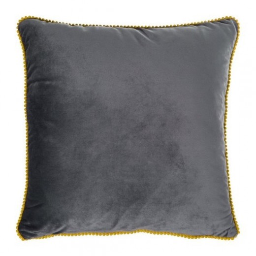 Set 2 perne decorative cu huse detasabile Claris Velvet Gri, 45 x 45 cm