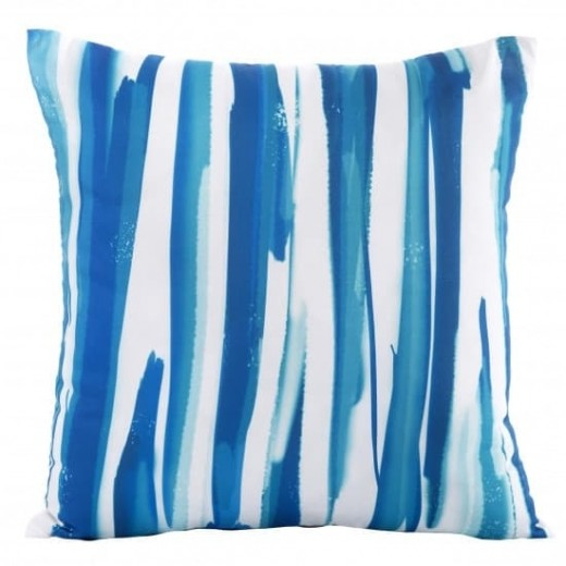 Perna decorativa cu husa detasabila Strips Albastru / Alb, 45 x 45 cm