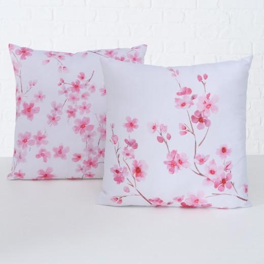 Perna decorativa Sakura Roz / Alb, Modele Asortate, L45xl45 cm