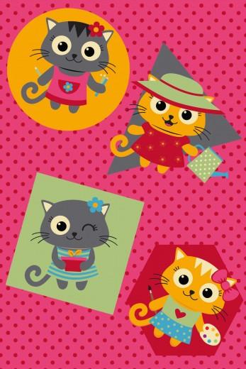 Covor Piccola Kids Pic-014 Cats, Tesut mecanic