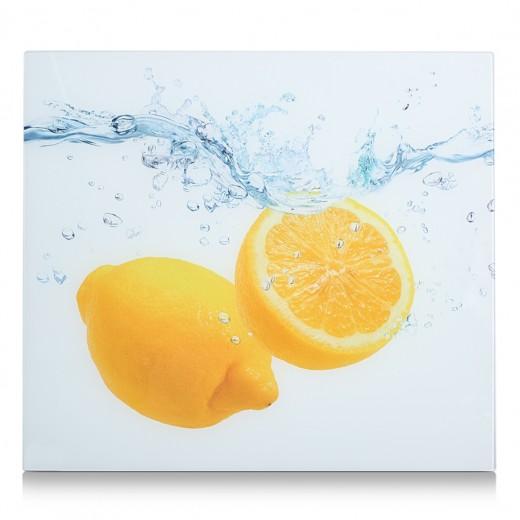 Placa din sticla protectie perete/plita, Lemon Splash, L56xl50 cm