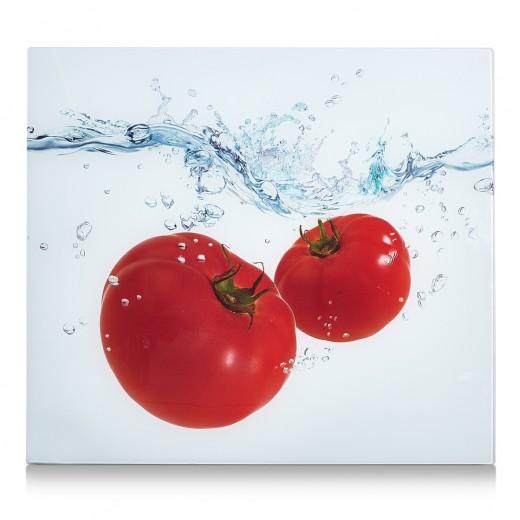Placa din sticla protectie perete/plita, Tomato Splash, l56xA50 cm