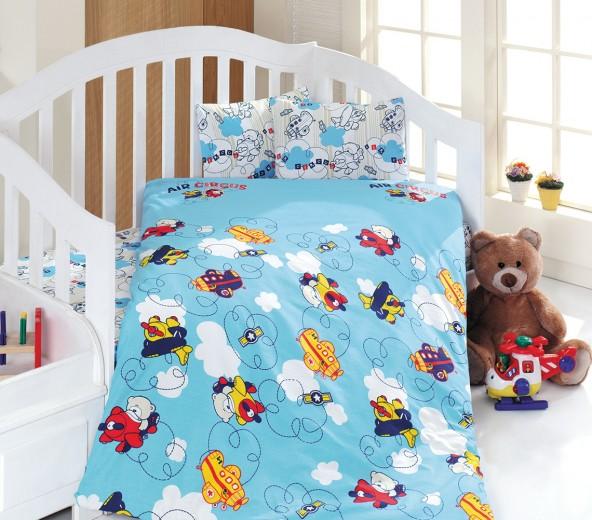 Lenjerie de pat copii Ranforce Plane Blue
