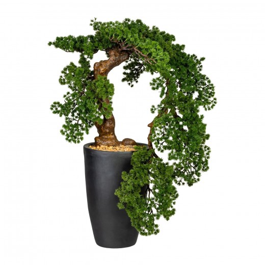 Planta artificiala in ghiveci, Bonsai Larch Han-Kengai Verde, H90 cm