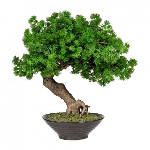 Planta artificiala in ghiveci ceramic, Bonsai Larch Verde, H37 cm