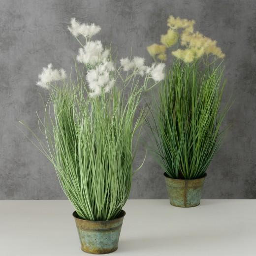 Planta artificiala in ghiveci Ikaria Alb / Galben, Modele Asortate, H65 cm
