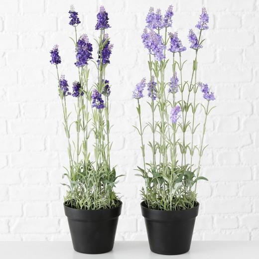 Planta artificiala in ghiveci Lavender Violet / Verde, Modele Asortate, H65 cm