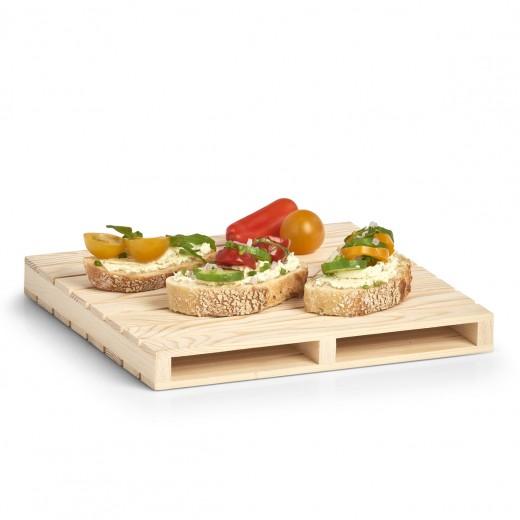 Platou de servire din lemn de pin Palette Natural, L24xl24xH2,5 cm