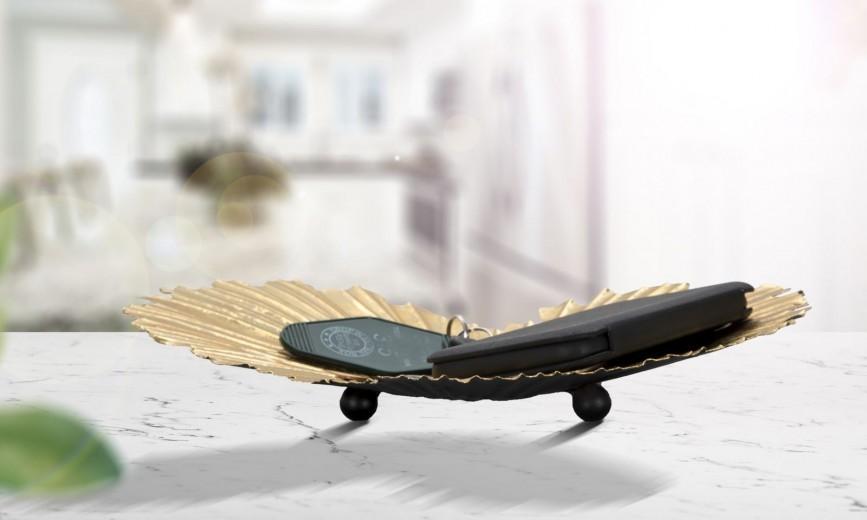 Platou decorativ metalic Cuore Auriu, L29xl25xH5 cm