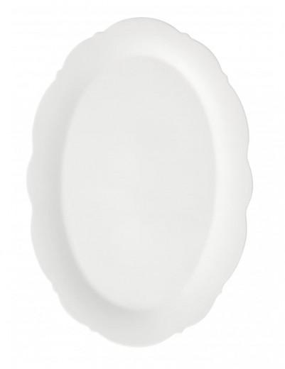 Platou pentru servire din portelan, Meringa Alb, L36xl24,5 cm