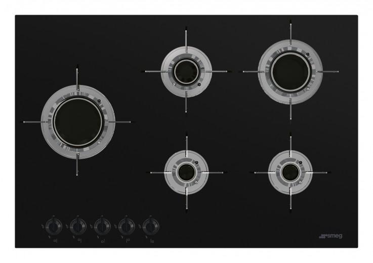 Plita incorporabila gaz PVL675LCN, Sticla neagra, 75 cm, Dolce Stil Novo, SMEG