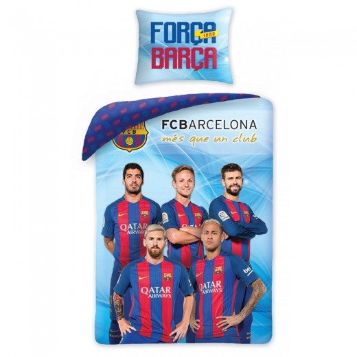 Lenjerie de pat copii Cotton FC Barcelona FCB-8015BL