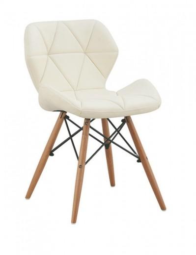 Scaun tapitat cu piele ecologica si picioare de lemn Provence White, l49xA53xH72 cm