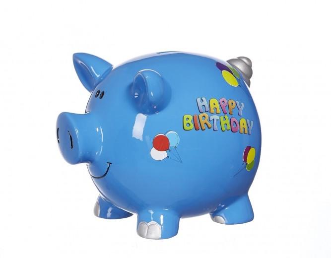 Pusculita ceramica Happy Birthday, Blue, 15 cm