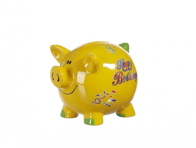 Pusculita ceramica Happy Birthday, Yellow, 8 cm