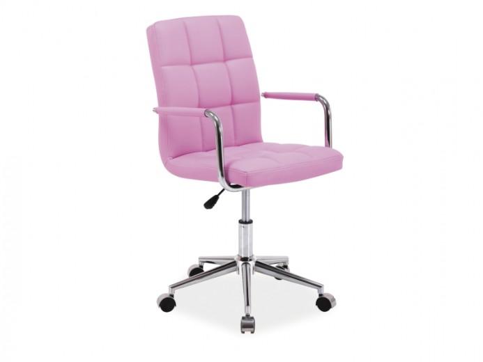 Scaun de birou pentru copii, tapitat cu piele ecologica Q-022 Pink, l45xA40xH87-97 cm