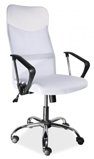 Scaun de birou ergonomic tapitat cu stofa Q-025 White, l62xA50xH107-116 cm