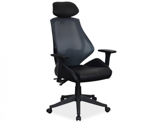 Scaun de birou ergonomic tapitat cu piele ecologica si stofa Q-406 Black, l67xA52xH102-110 cm