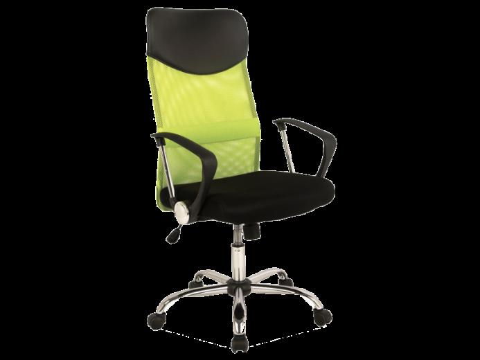 Scaun de birou ergonomic, tapitat cu stofa Q-025 Green / Black, l62xA50xH111-120 cm