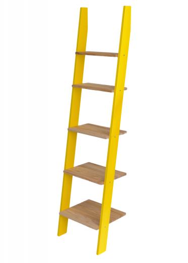 Raft din lemn de frasin si MDF Ashme Small Yellow / Ash, l45xA35xH180 cm