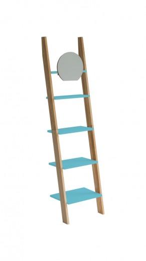 Raft din lemn de frasin si MDF cu oglinda Ashme Ash / Dark Turquoise, l45xA35xH180 cm