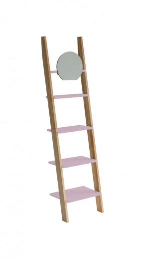Raft din lemn de frasin si MDF cu oglinda Ashme Ash / Dusky Pink, l45xA35xH180 cm