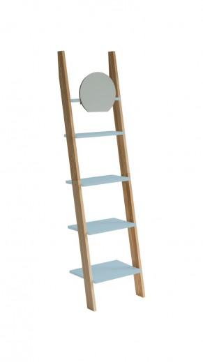 Raft din lemn de frasin si MDF cu oglinda Ashme Ash / Light Turquoise, l45xA35xH180 cm