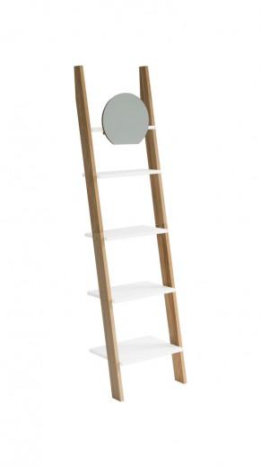 Raft din lemn de frasin si MDF cu oglinda Ashme Ash / White, l45xA35xH180 cm