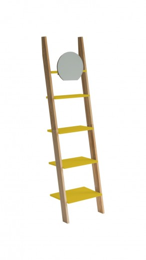 Raft din lemn de frasin si MDF cu oglinda Ashme Ash / Yellow, l45xA35xH180 cm