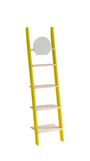 Raft din lemn de frasin si MDF cu oglinda Ashme Yellow / Ash, l45xA35xH180 cm