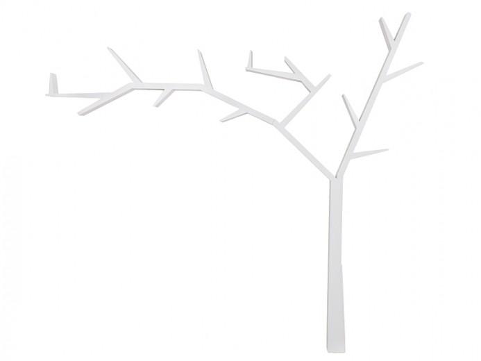 Raft din lemn de pin Poprad Tree Left Alb, l255xA15xH220 cm