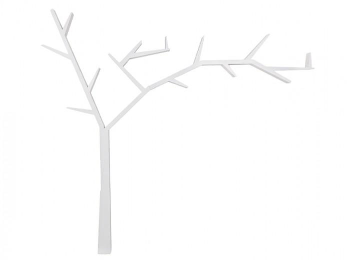 Raft din lemn de pin Poprad Tree Right Alb, l255xA15xH220 cm