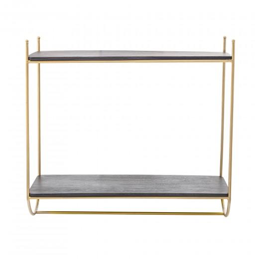 Raft din metal si lemn, Carly Negru / Auriu, l66xA30xH61 cm