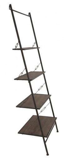Raft din metal si lemn Raw Negru, l65xA41xH180 cm