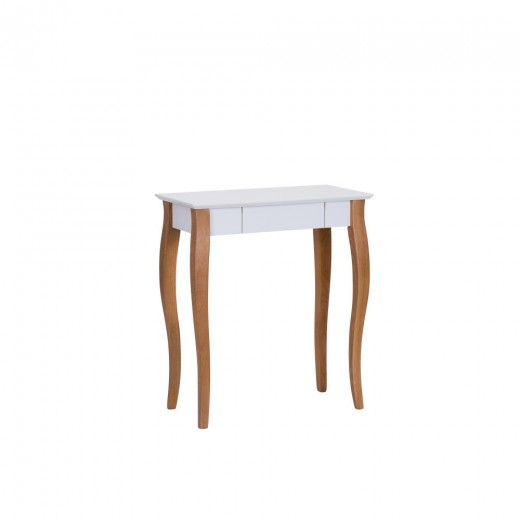 Masa de birou din lemn de fag si MDF, cu 1 sertar Lillo Small White / Beech, L65xl40xH74 cm