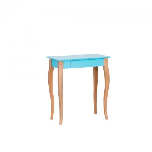 Masa de birou din lemn de fag si MDF, cu 1 sertar Lillo Small Dark Turquoise / Beech, L65xl40xH74 cm