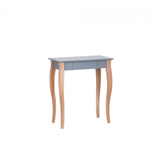 Masa de birou din lemn de fag si MDF, cu 1 sertar Lillo Small Dark Grey / Beech, L65xl40xH74 cm