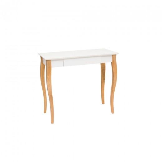 Masa de birou din lemn de fag si MDF, cu 1 sertar Lillo Medium White / Beech, L85xl40xH74 cm