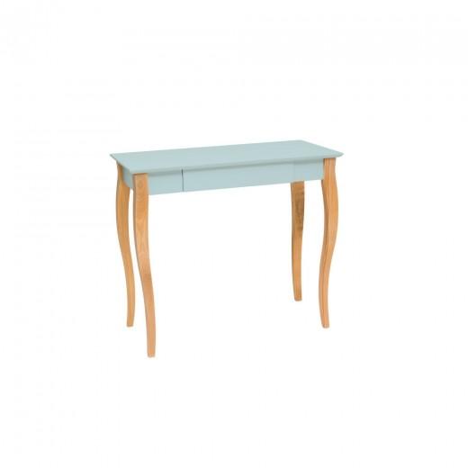 Masa de birou din lemn de fag si MDF, cu 1 sertar Lillo Medium Light Turquoise / Beech, L85xl40xH74 cm