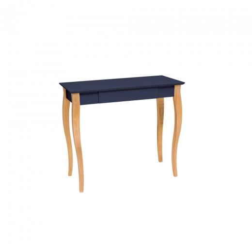 Masa de birou din lemn de fag si MDF, cu 1 sertar Lillo Medium Graphite / Beech, L85xl40xH74 cm