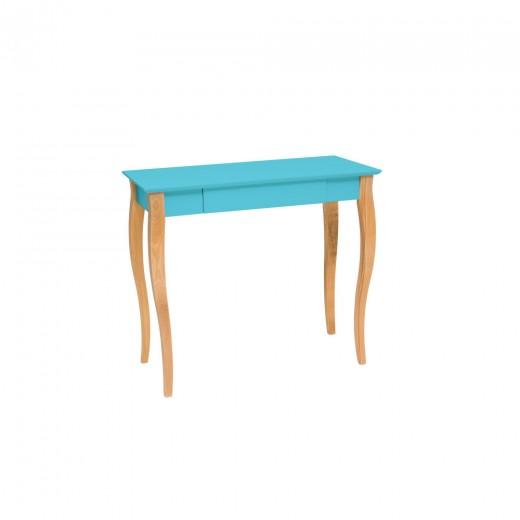 Masa de birou din lemn de fag si MDF, cu 1 sertar Lillo Medium Dark Turquoise / Beech, L85xl40xH74 cm