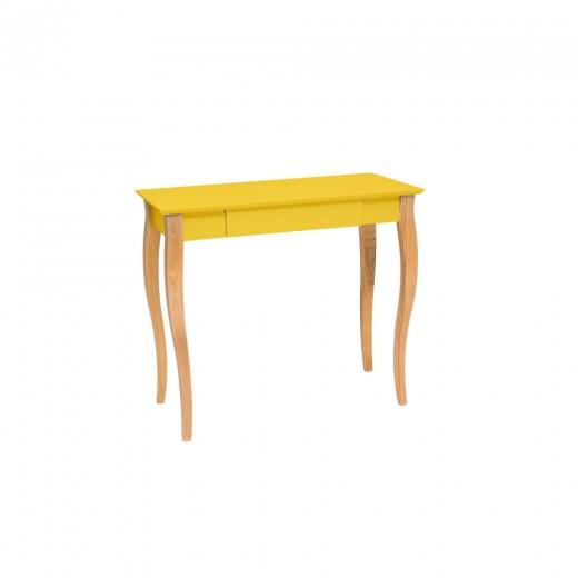 Masa de birou din lemn de fag si MDF, cu 1 sertar Lillo Medium Yellow / Beech, L85xl40xH74 cm