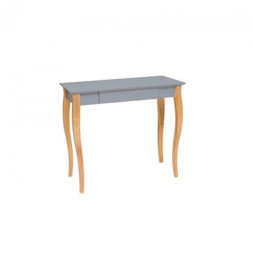 Masa de birou din lemn de fag si MDF, cu 1 sertar Lillo Medium Dark Grey / Beech, L85xl40xH74 cm